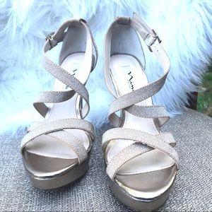 NINA Gold Stiletto High Heels Strappy Sandal -7.5